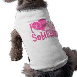 Amo rosa del softball playera sin mangas para perro