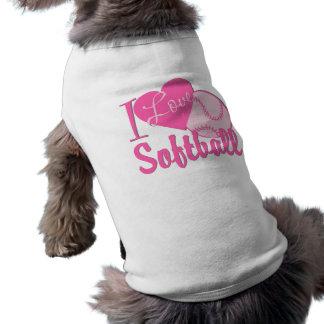 Amo rosa del softball ropa de perro