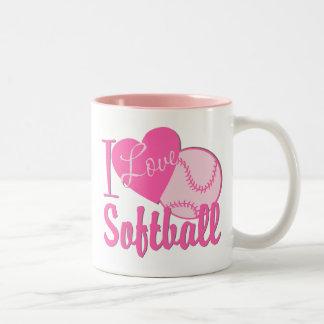 Amo rosa del softball taza de café de dos colores
