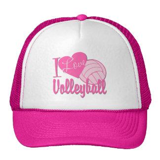 Amo rosa del voleibol gorros