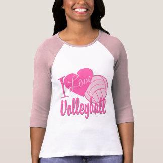 Amo rosa del voleibol camiseta
