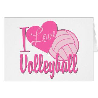 Amo rosa del voleibol tarjeta de felicitación
