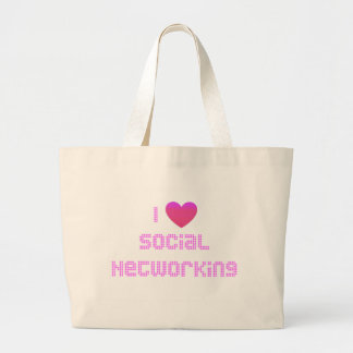 Amo rosa social del establecimiento de una red bolsas de mano