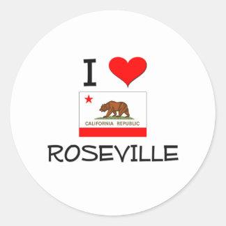 Amo ROSEVILLE California Etiqueta Redonda