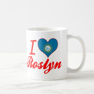 Amo Roslyn, Dakota del Sur Taza Básica Blanca