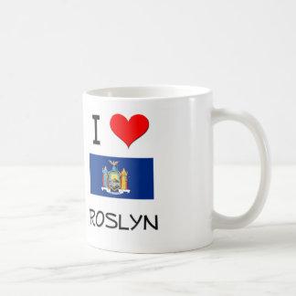 Amo Roslyn Nueva York Taza Básica Blanca