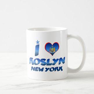 Amo Roslyn, Nueva York Taza Básica Blanca