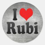 Amo Rubi, España. Yo Encanta Rubi, España Pegatina Redonda