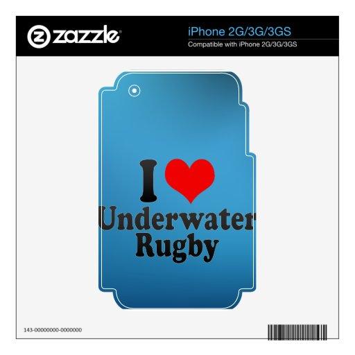 Amo rugbi subacuático calcomanía para iPhone 3G