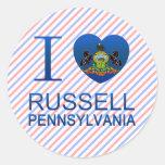 Amo Russell, PA Pegatinas Redondas