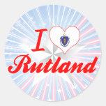Amo Rutland, Massachusetts Pegatinas Redondas