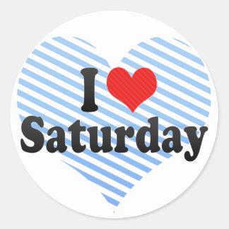 Amo sábado etiqueta redonda
