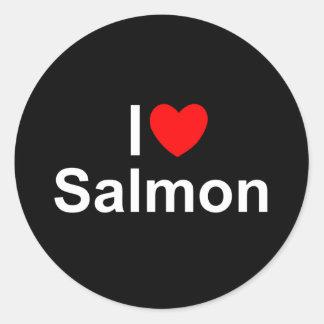 Amo salmones (del corazón) pegatina redonda