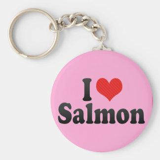 Amo salmones llavero redondo tipo pin