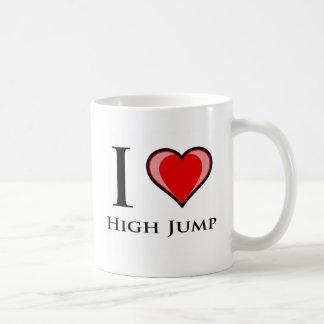 Amo salto de altura taza de café