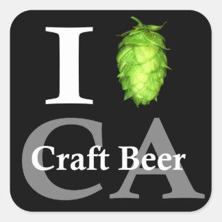 Amo (salto) la cerveza del arte de California Pegatina Cuadrada