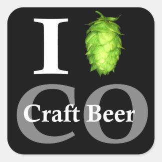 ¡Amo salto la cerveza del arte de Colorado Calcomania Cuadradas Personalizadas