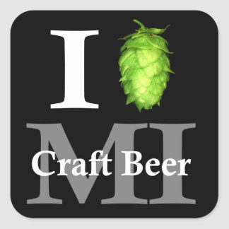 ¡Amo (salto) la cerveza del arte de Michigan! Pegatina Cuadrada