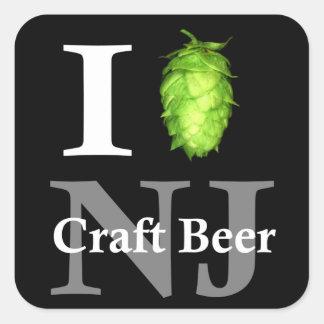 Amo salto la cerveza del arte de NJ Calcomanias Cuadradas