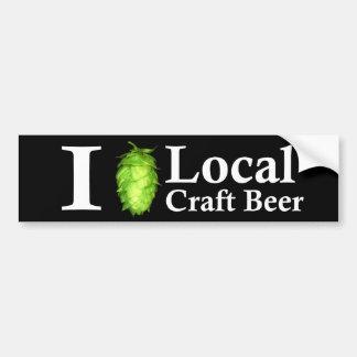 ¡Amo (salto) la cerveza local del arte! Etiqueta De Parachoque