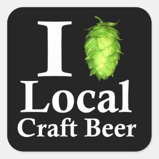 ¡Amo (salto) la cerveza local del arte! Pegatina Cuadrada