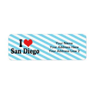Amo San Diego Etiquetas De Remite