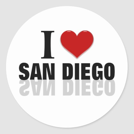 Amo San Diego Pegatina Redonda