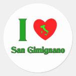 Amo San Gimignano Italia Pegatina Redonda