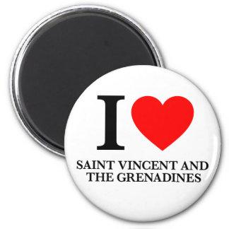 Amo San Vicente y las Granadinas Imán Redondo 5 Cm