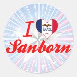 Amo Sanborn, Iowa Etiquetas Redondas