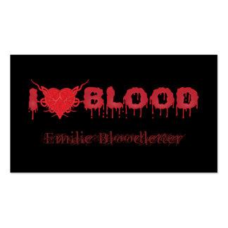 Amo sangre plantillas de tarjetas personales