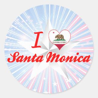 Amo Santa Mónica, California Pegatina Redonda
