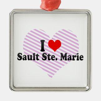 Amo Sault Ste. Marie, Canadá Adorno Cuadrado Plateado