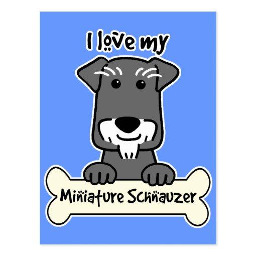 Amo Schnauzers miniatura Tarjetas Postales