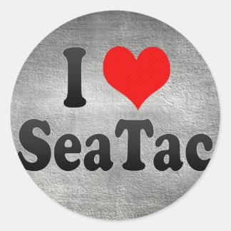 Amo SeaTac, Estados Unidos Pegatina Redonda