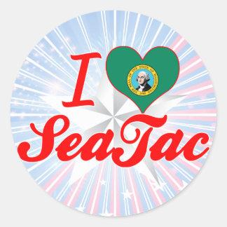 Amo SeaTac, Washington Pegatina Redonda