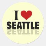 Amo Seattle Etiqueta Redonda