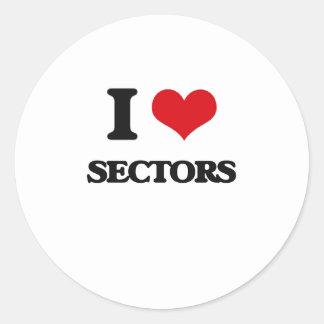 Amo sectores pegatina redonda