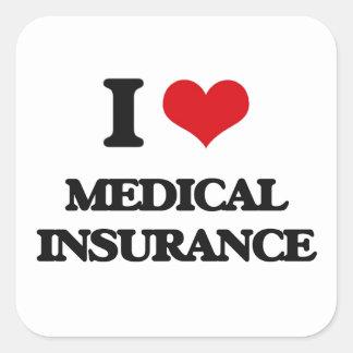 Amo seguro médico pegatina cuadrada