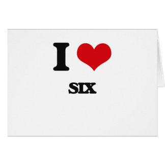 Amo seis tarjeta de felicitación