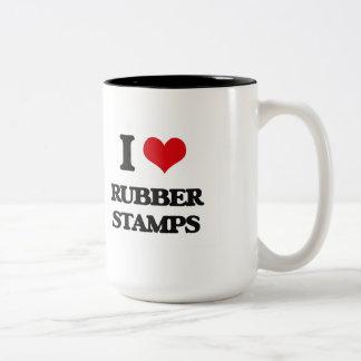 Amo sellos de goma taza dos tonos