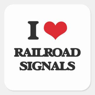 Amo señales del ferrocarril pegatina cuadrada