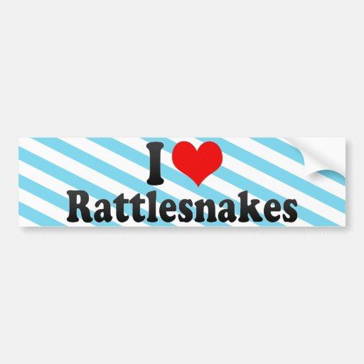 Amo serpientes de cascabel etiqueta de parachoque