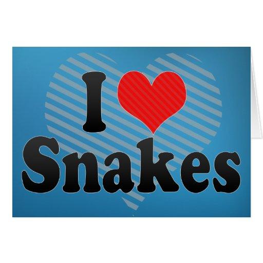 Amo serpientes tarjeta de felicitación