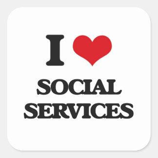 Amo servicios sociales pegatina cuadrada