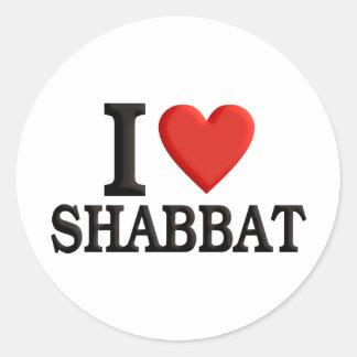 Amo Shabbat Pegatina Redonda