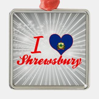Amo Shrewsbury, Vermont Adorno Cuadrado Plateado