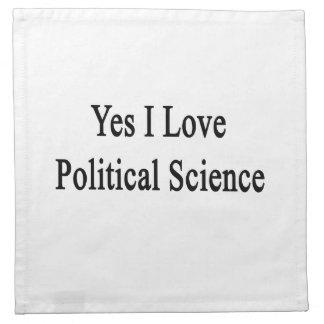 Amo sí ciencia política servilleta imprimida
