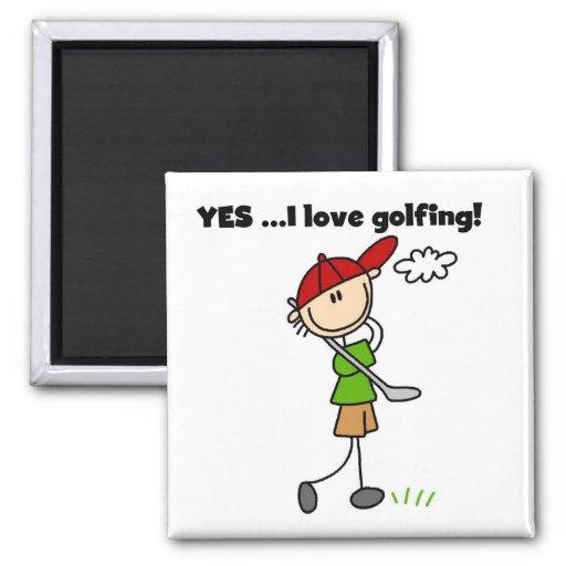 Amo SÍ el Golfing de las camisetas y de los regalo Imán De Frigorífico