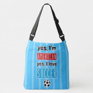 Amo sí fútbol por todo bolso de la impresión bolsa cruzada